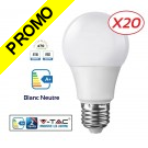 Lot de 20 Ampoules LED V-TAC Culot E27 7W (éq. 45W) 470lm angle 200° lumière blanc neutre