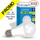 Lot de 10 Ampoules LED V-TAC Culot E27 10W (éq. 60W) 806lm angle 200° lumière blanc chaud 2700K