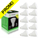 Pack de 10 Ampoules Led GU10 5W Blanc Chaud 3000K eq. 50W Halogène 120° Dimmable