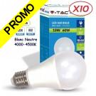 Lot de 10 Ampoules LED V-TAC Culot E27 10W (éq. 60W) 806lm angle 200° lumière blanc neutre