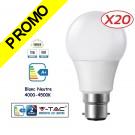 Lot de 20 Ampoules LED V-TAC Culot B22 12W (éq. 75W) 1055lm angle 200° lumière blanc neutre 4500K