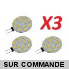 Lot de 3 Ampoules G4 à 12 Leds SMD 5730 Blanc Froid AC/DC 10-30V