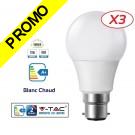 Lot de 3 Ampoules LED V-TAC Culot B22 12W (éq. 75W) 1055lm angle 200° lumière blanc chaud 3000K