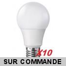 Lot de 10 Ampoules LED Standard E27 Grande Vis 7W  (eq. 40 watt) 6000K Blanc Froid