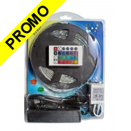 Kit RUBAN LED RGB 5M Complete. Transformateur + cable d'alimentation + controleur + ruban LED de 5 mètres