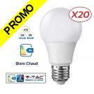 Lot de 20 Ampoules LED V-TAC Culot E27 7W (éq. 45W) 470lm angle 200° lumière blanc chaud