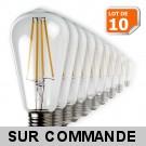 Lot de 10 Ampoules Led Filament ST64 Style Edison Teardrop 7 watt (eq.52 watt) Culot E27