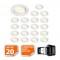 LOT DE 20 SPOT LED ENCASTRABLE COMPLETE ORIENTABLE BLANC AVEC AMPOULE GU10 230V eq. 50W, LUMIERE BLANC NEUTRE