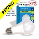 Lot de 20 Ampoules LED V-TAC Culot E27 10W (éq. 60W) 806lm angle 200° lumière blanc chaud 2700K