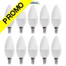 Pack de 10 Ampoules LED Flamme Culot E14 6,5 watt (eq. 48 watt) Super Puissant  600 lumens Blanc Chaud