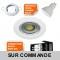 LOT DE 50 SPOT ENCASTRABLE FIXE LED 230V BLANC AVEC AMPOULE GU10 38° 5W eq.ENV 50W