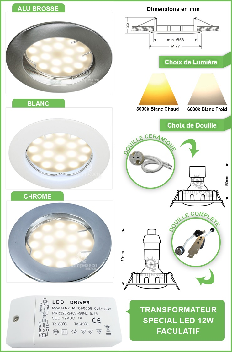 Spot Led 12V Encastrable Fixe Ronde Blanc