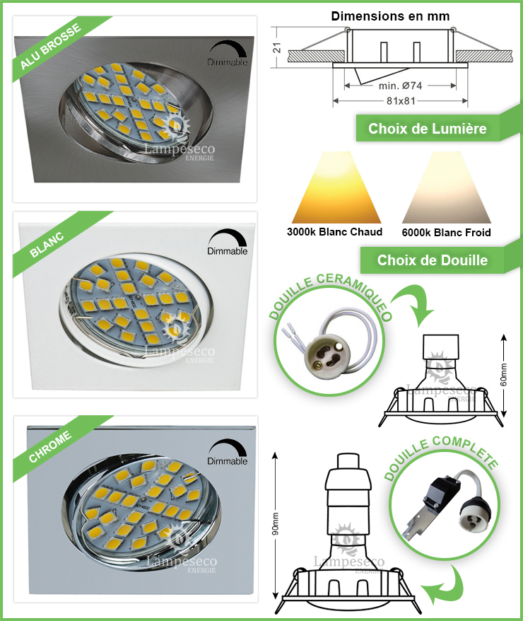 Spot Led Encastrable Orientable Carré Alu brossé 24 Led Rendu 50W 120°