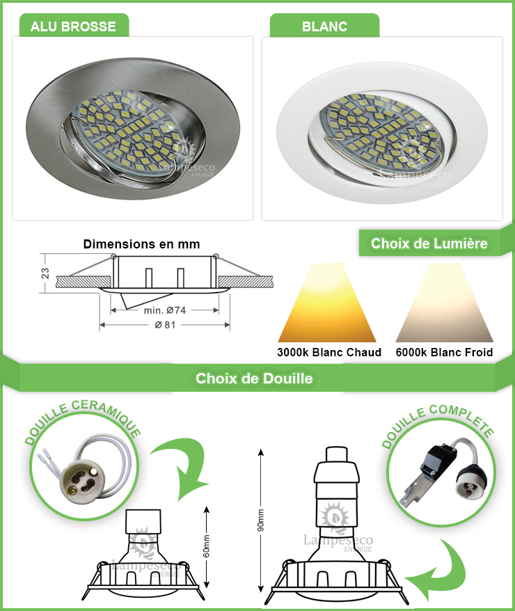 Spot Led Encastrable Orientable Ronde Alu brossé 60 Led Rendu 45W 120°