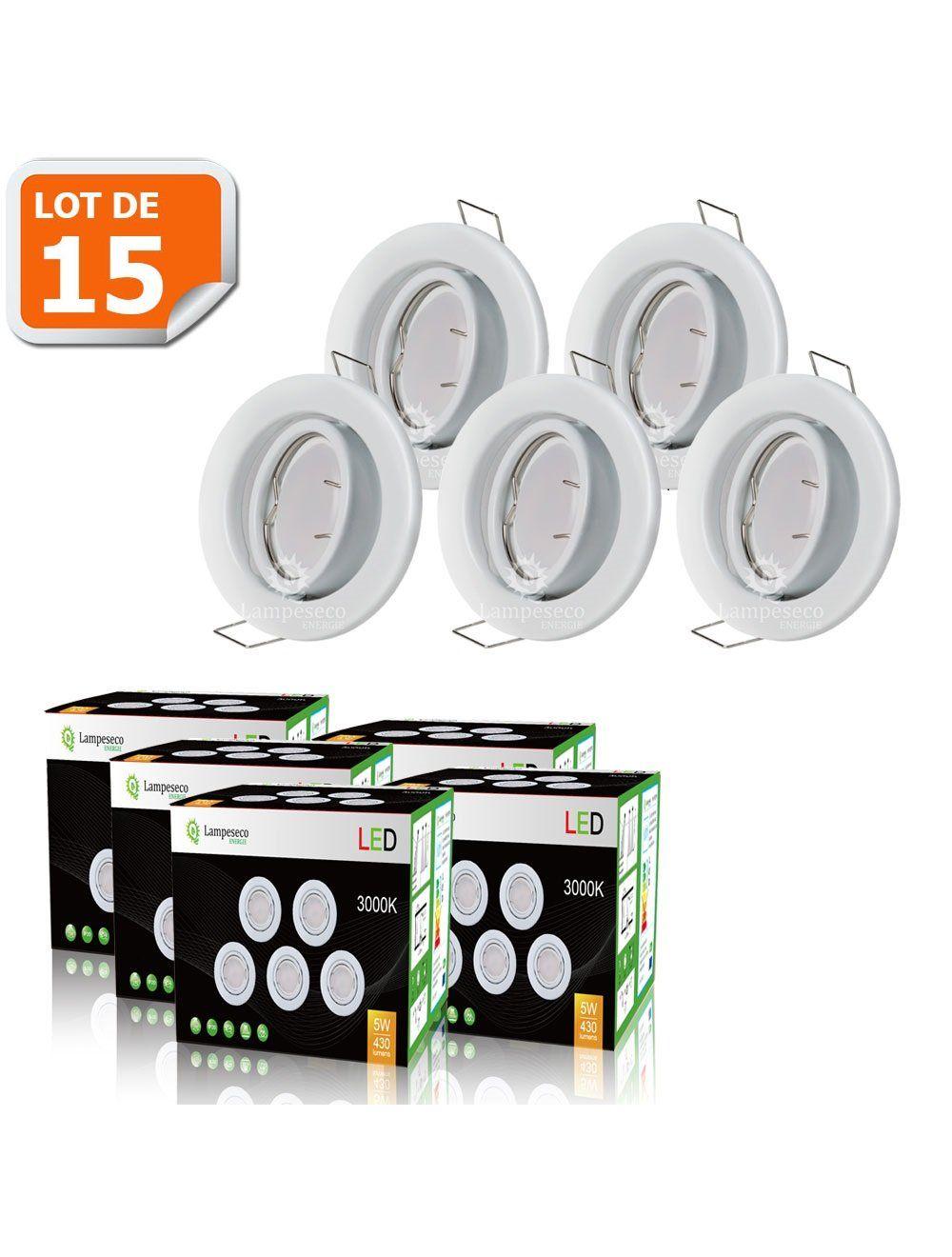 LOT DE 4 SPOT LED ORIENTABLE BLANC AVEC AMPOULE GU10 230V  eq 50W BLANC CHAUD