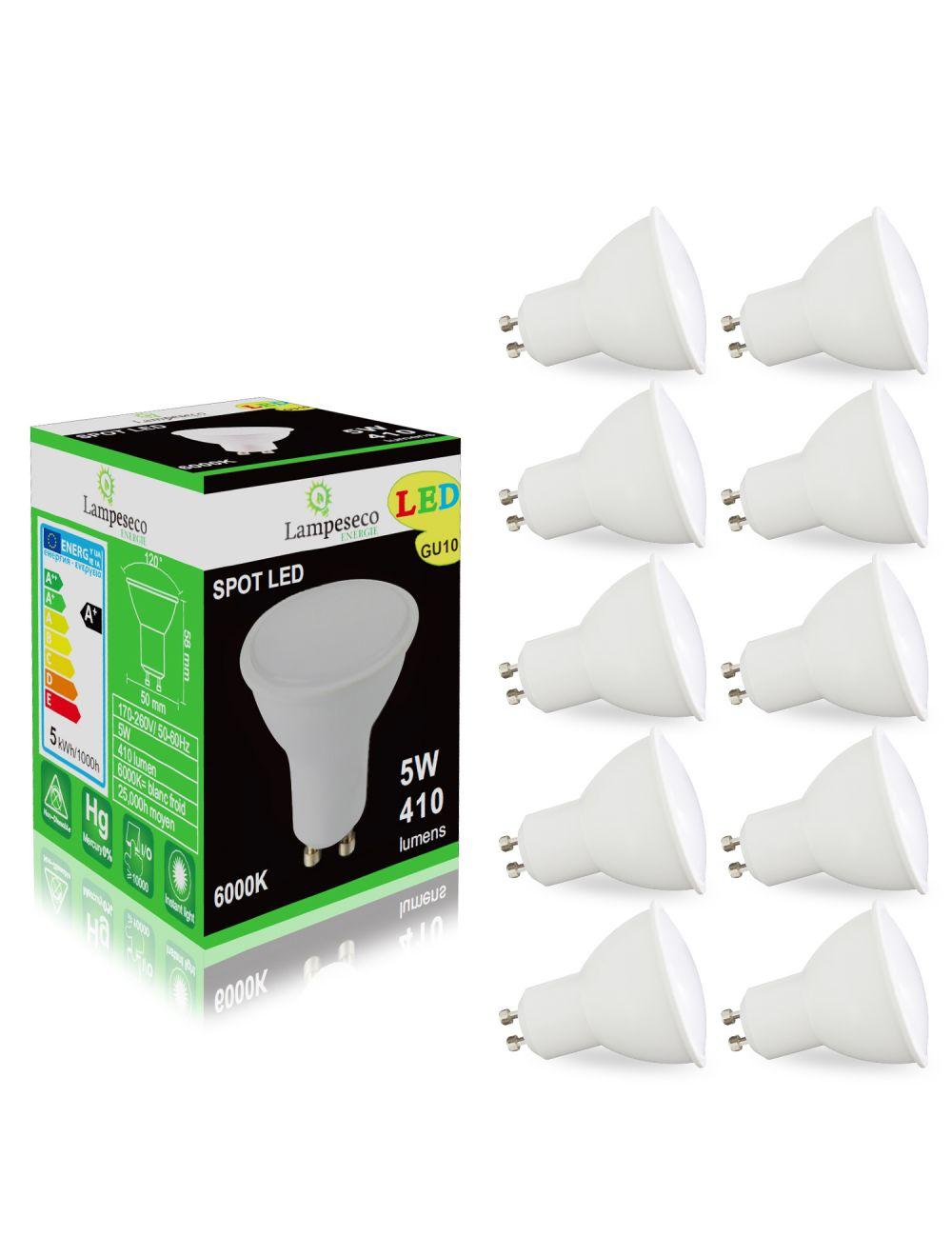 Pack De 10 Ampoules Led Gu10 5w Blanc Froid 6000k Eq 50w Halogène 120